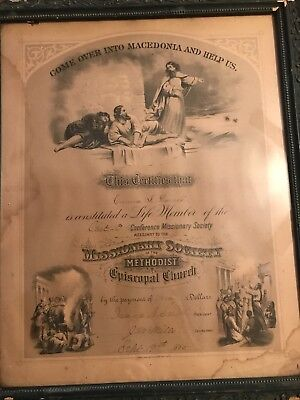 Vintage 1800s Life Member Of The Missionary Society Methodist Church
