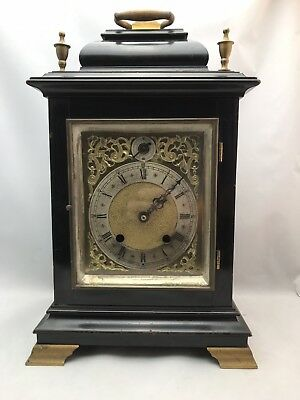 Antique Georgian ebonized bracket clock and brass silvered face repair or parts