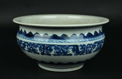 Chinese Blue & White Porcelain Censer 18th Century Qing Qianlong Period
