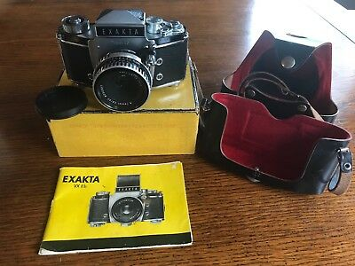 Exakta VX IIb Vintage Camera with Black Leather Case and manual
