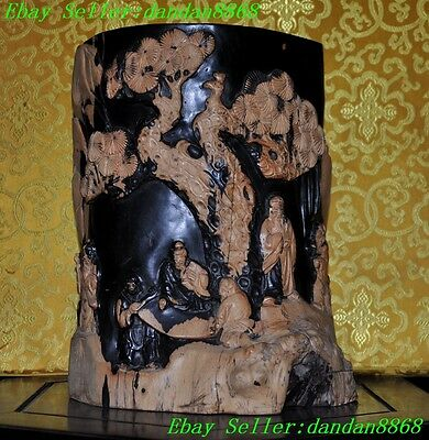 rare china Expensive Ebony wood master carving pine Old people statue Brush pot