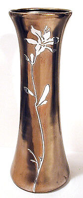 "9th Annual NuYrsSale Arts & Crafts  HEINTZ BRONZE AND STERLING VASE   12"" x 4.5"""