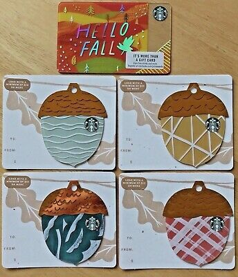 Starbucks 2018 Acorn die cut gift card set HELLO FALL