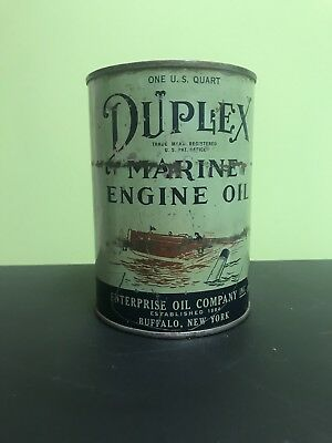 Original DUPLEX Outboard Motor Oil Metal Can FULL Quart Marine Engine Oil Boat