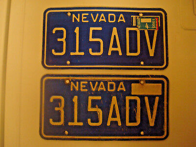 Vintage NEVADA Car License Plate Set 1982-1984