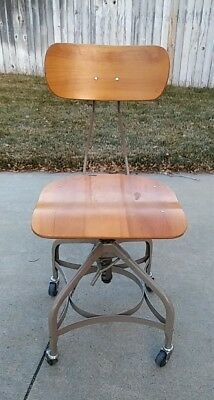 Vintage INDUSTRIAL DRAFTING STOOL Toledo  wood bar steel metal chair swivel mcm