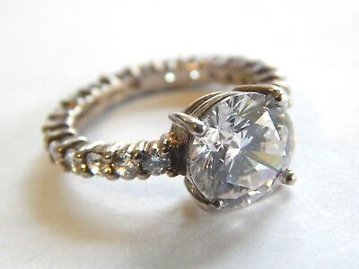 Vintage Sterling Silver 925 Cubic Zirconia CZ Ring Stone on Whole Band
