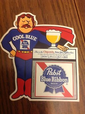 PABST BLUE RIBBON BEER COOL BLUE STICKER PBR Original Vintage 1970s Super Hero