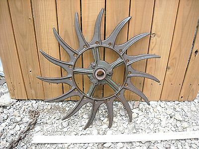 Oliver Vintage Industrial Iron Rotary Hoe Cultivator Wheel Garden Farm Yard Art