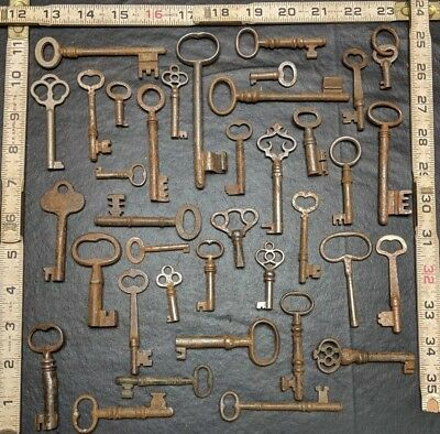 Lot Of 37 Vintage Antique Keys Skelton Mortise Hollow Barrel Cabinet Door 1 lbs+
