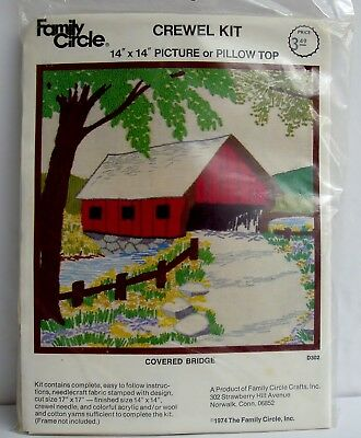 Vintage 1974 Family Circle Covered Bridge Stamped Crewel Embroidery Pillow Kit