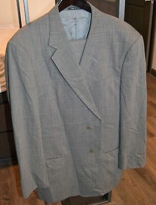 a7042b95 ARMANI COLLEZIONI GRAY Plaid 2 Button Suit Made in Italy 44 Long L 100% Wool