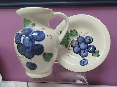 Vtg Ceramic Hand Painted Pitcher & Bowl Made In Italy For Nordstrom's Grapes