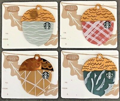 Starbucks 2018 Acorn die cut gift card set