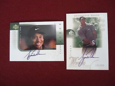 Both Tiger Woods UD Authentic Auto + Players Ink  Auto Reprints
