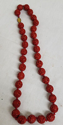Antique Vintage Chinese Carved Cinnabar Lacquer Necklace Beads Flower