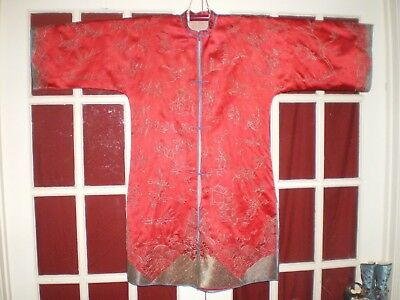 RARE Antique Chinese Red Silk Jacket/Robe Couched Embroidered Silver Design Sz