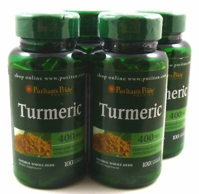 Puritan's Pride Turmeric 400mg Antioxidant Naturally Contains Curcumin 4X100CAPS