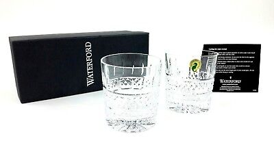 Waterford Irish Lace Tumbler Old Fashioned Glasses Pair Crystal New In Box
