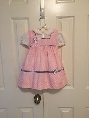 VTG - Pink Heart Print Dress - size 2 - Note Flaw
