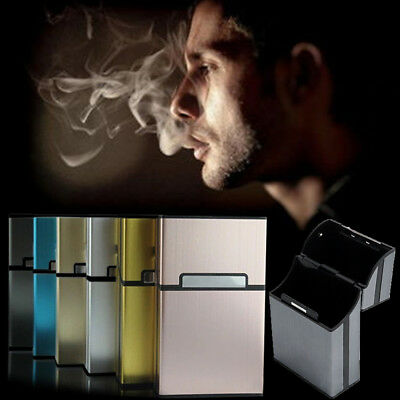 New Cigarate Cigarette Case Aluminum Tobacco Holder Storage Container Pocket Box