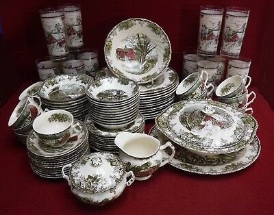 JOHNSON Brothers FRIENDLY VILLAGE Made in England 89-piece SET w/ SERVICE PLATES