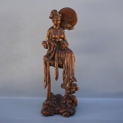 Chinese Exquisite Hand carved beauty Carving Boxwood statue
