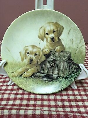 Knowles Collector Plate 1991 GONE FISHIN' Golden Retriever Dogs Kaatz LE 8.5""