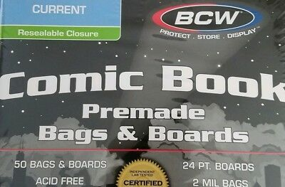 50 High Quality BCW Premade Resealable Current Comic Bag and Board