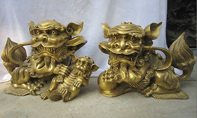 """14""""Chinese Bronze Brass Fengshui Guardian Lions Foo Fu Dog Hold Lion Pair Statue"""