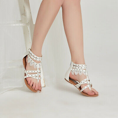 AU Free Ship Womens Low Heel Gladiator Sandals Flat Beach Wedding Shoes