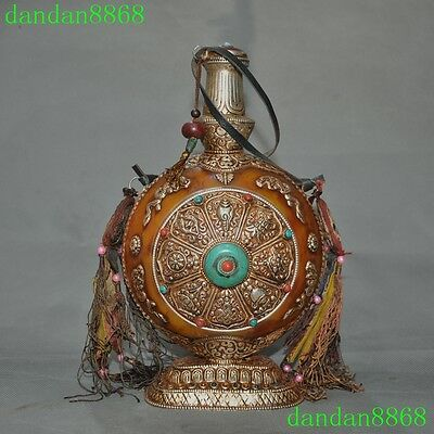 Old Tibet Buddhism Beeswax mosaic silver turquoise eight treasures snuff bottle