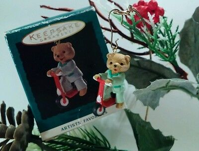 "Hallmark Miniature Christmas Ornament  ""Scooting Along"" Bear with Scooter 1994"