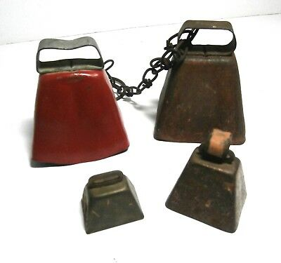 Lot of 4 Vintage Square Metal Bells Small Animal Bells Goat Sheep Calf Dog Bell