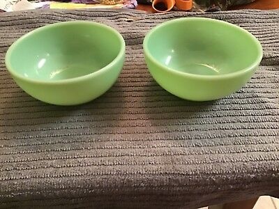 """Vintage Lot of 2 Fire King Jadeite Green 5"""" Chili Soup Bowls"""