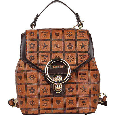 Nicole Lee Moreh Monogrammed Mini Backpack - Brown Backpack Handbag NEW