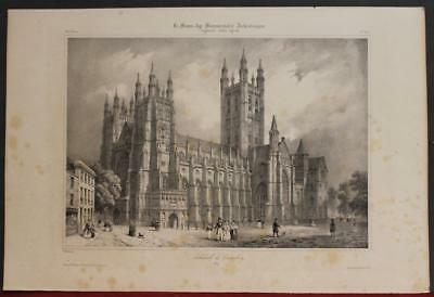 Canterbury Cathedral England 1845 Benoist Antique Original Lithographic View