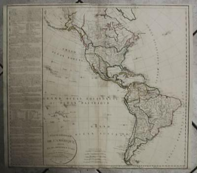 American Continent 1821 Delamarche Unusual Large Antique Copper Engraved Map
