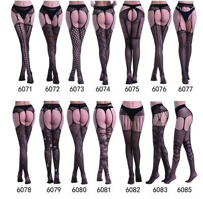 New Styles Fishnet Crotchless Suspender Stockings Tights Garter Belt, UK S-XXXL