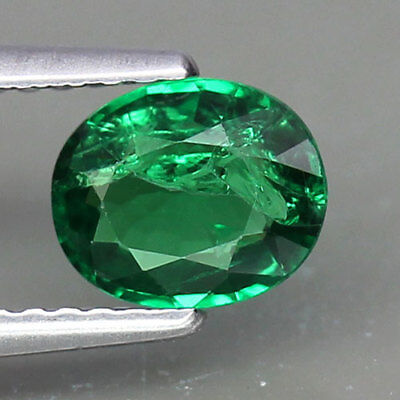 0.92ct.OVAL SHAPE 100%NATURAL INTENSE GREEN TSAVORITE GARNET GEMSTONE NICE!