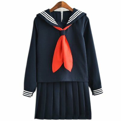 Japanese School Sailor Uniform Long Sleeve Navy Carnival Cosplay Costume Set