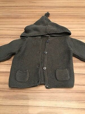 Next Baby Boys Grey Hooded Chunky Knit Cardigan. Age 3-6 Months. Ex Cond