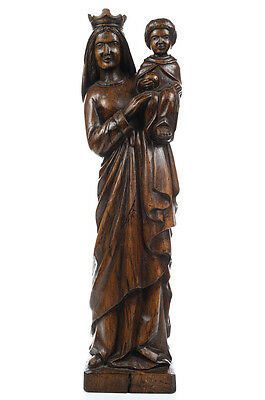 18th century Fine French Oak carving of Virgin w/Child
