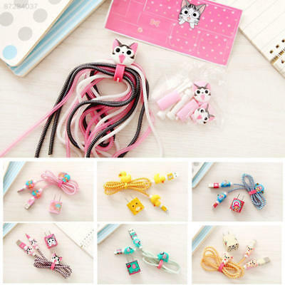 66C6 Cartoon Spiral Phone USB Data Charging Cable Cord Wrap Protector Winder