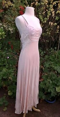 High End Vtg 30s Bias Cut Lace Silk Bullocks Wilshire Dress Slip Pegnoir Wedding