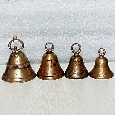 Old 1930s Four Antique Handmade Bronze Mixed Solid Brass Bells with New Pendulum
