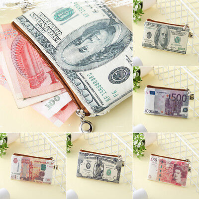 502B Canvas Paper Money Euro Pound Bill Bifold Card Holder Wallet Handbag Purse