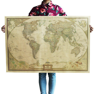 World Large Vintage Map Poster Decoration Wall Painting Classic Movie 104cm*69cm