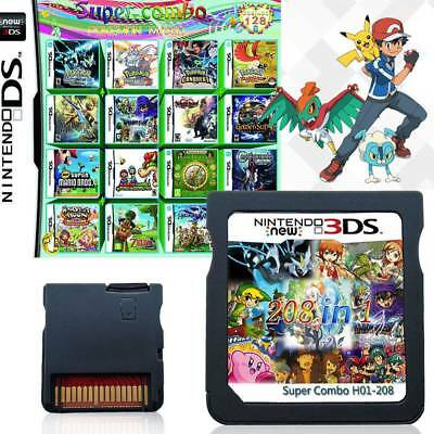 208 in 1 Game Cartridge Multicart Support DS NDS NDSL NDSi 2DS 3DS All System UK