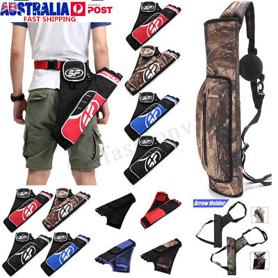 Adjustable Archery Arrow Holder 3 Tube Bag Back Side Waist Quiver Hunting Sport
